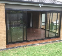 Aluminium Sliding Door 4 Panel Black
