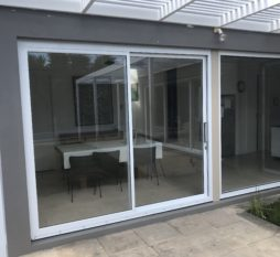 Commercial Aluminium Sliding Door 2 Panel White And Fixed Window 1 Panel White